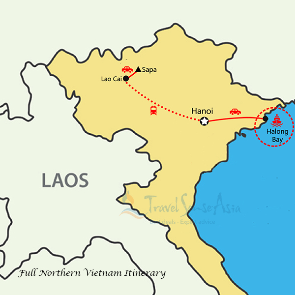 Northern Vietnam Map.Essential North Package 7 Days 6 Nights