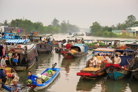 floating market mekong delta vietnam how to